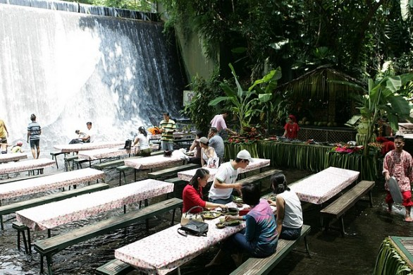 Restaurant in the waterfalls at Villa Escudero, Philippines