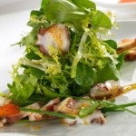 Warm octopus salad with prawns