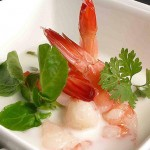 Coconut soup with shrimp