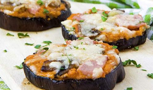 mini pizzas with eggplant