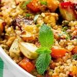 Quinoa salad and roasted carrots