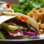 Beef burritos with guacamole