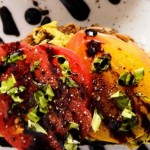 Tomato Crostini with avocado and balsamic