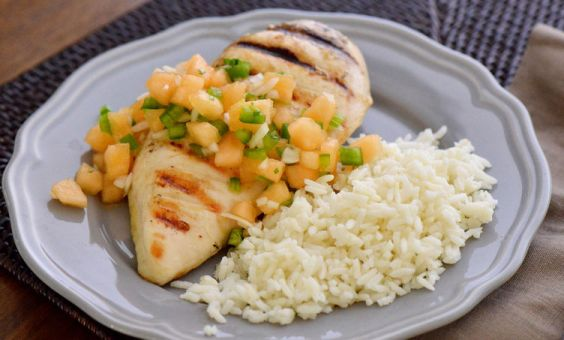 roasted chicken with melon salsa