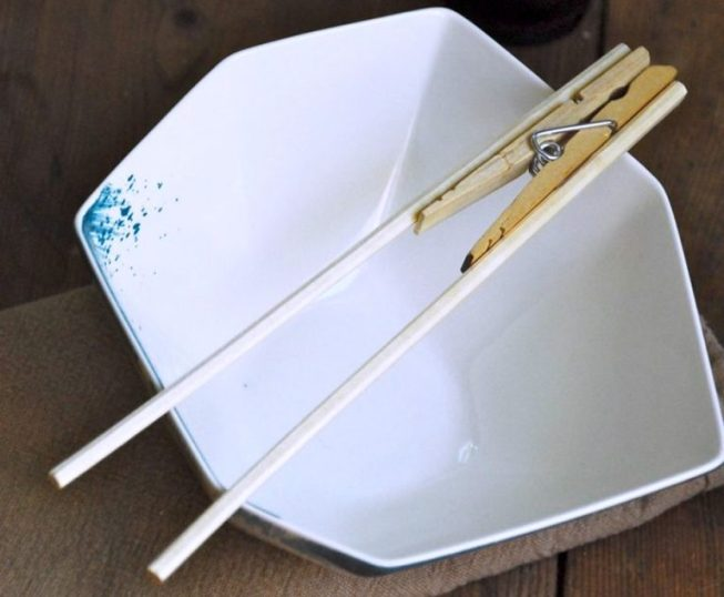 using clothespin with chopsticks
